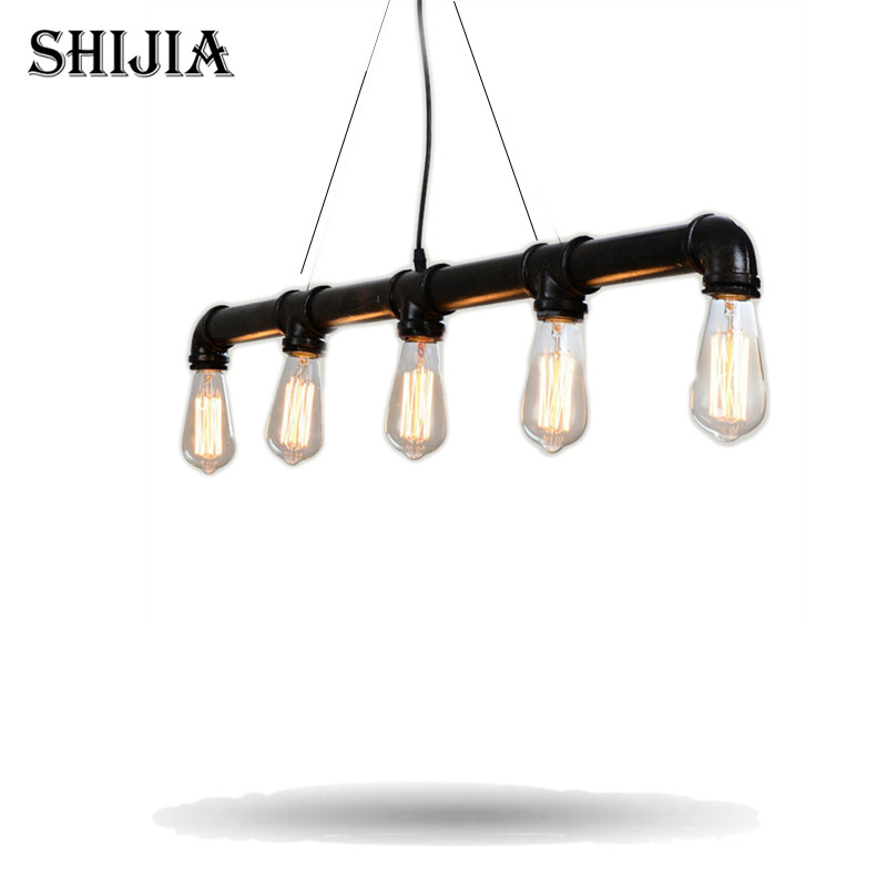 ФОТО Black American Loft Vintage Retro Pulley Wrought Iron Pendant Light Industrial Lamps E27 Edison Pendant Lamp Home Light Fixtures
