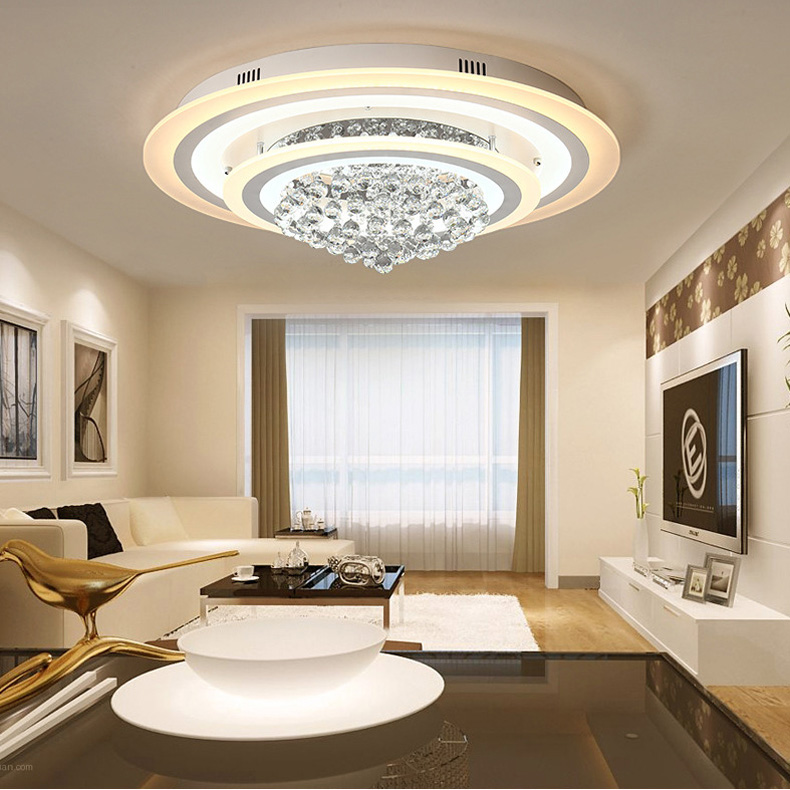 Aliexpress Com Buy Luxury Crystal Flush Mount Led Ceiling Light Modern Round Rain Drop Clear