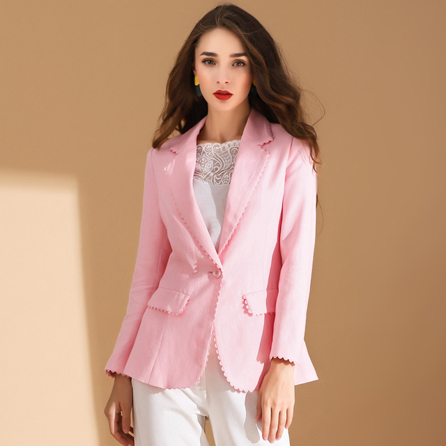Women Pink Slim Small Suit Flax Solid color OL Blazer 2019 New Female Single Button Notched Full Sleeve Blazers Office Lady
