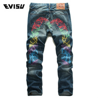 Evisu 2018 New Men's Denim Jeans Spring Summer Casual Fashion Trousers Men Hip Hop Swag Colorful Geometry Big M Long Pants 6139