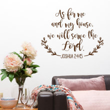 Bible Wall Stickers Joshua 24:15 Quote As For Me and My House We Will Serve the Lord Movable Adhesive Art Christian Decals W408