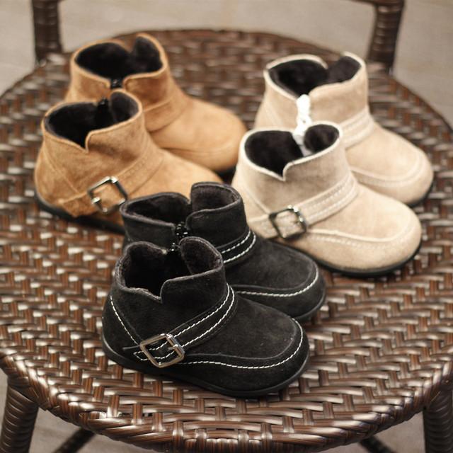 Nuevo Bebé de Invierno Botas Chicas Zapatos de Bebé de cuero Genuino niños Botas antideslizantes zapatos de Bebé botas de Moda Para 1-3 T Envío Libre