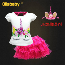 1b814de811e0 Boutique Children Unicorn Cotton T-shirts & Tulle Tutu Skirts Girls Little  Pony Clothing Set New Year Christmas Dress Ruffles
