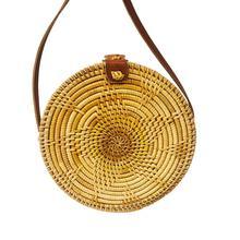 Women Bohemian Round Rattan Braided Woven Hand Bag Shoulder Messenger Bags Straw Crossbody Bag For Travel Beach Summer Handbag
