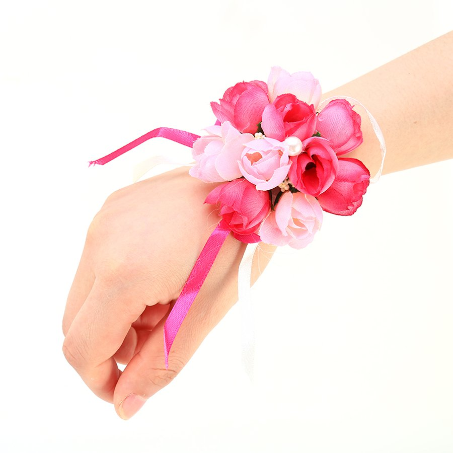 Artificial Wrist Corsage Bridesmaid Sisters Hand Flowers Bride ...