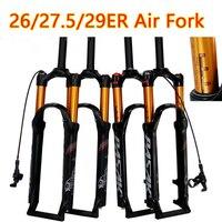Велосипедная воздушная вилка 26 27,5 29 ER MTB горный велосипед Подвеска вилка воздушная устойчивость масло демпфирующий линейный замок для боле