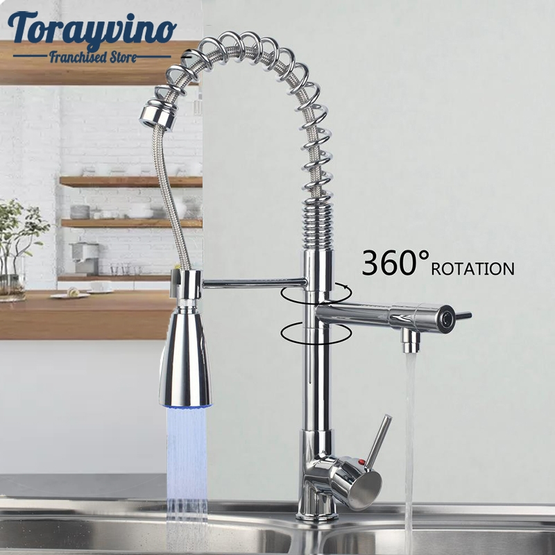 Kitchen Faucet LED Spray Kitchen Torneira Cozinha LED Light Pull Out Down Swivel Chrome Spray Basin Sink Vessel Mixer Faucet. newly arrived pull out kitchen faucet gold sink mixer tap 360 degree rotation torneira cozinha mixer taps kitchen tap