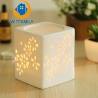 Ceramic Cube Whtie Incense Burners Diffuser Candle Aroma Furnace Essential Oil Lamp Hollowed Out Fragrance Lamp