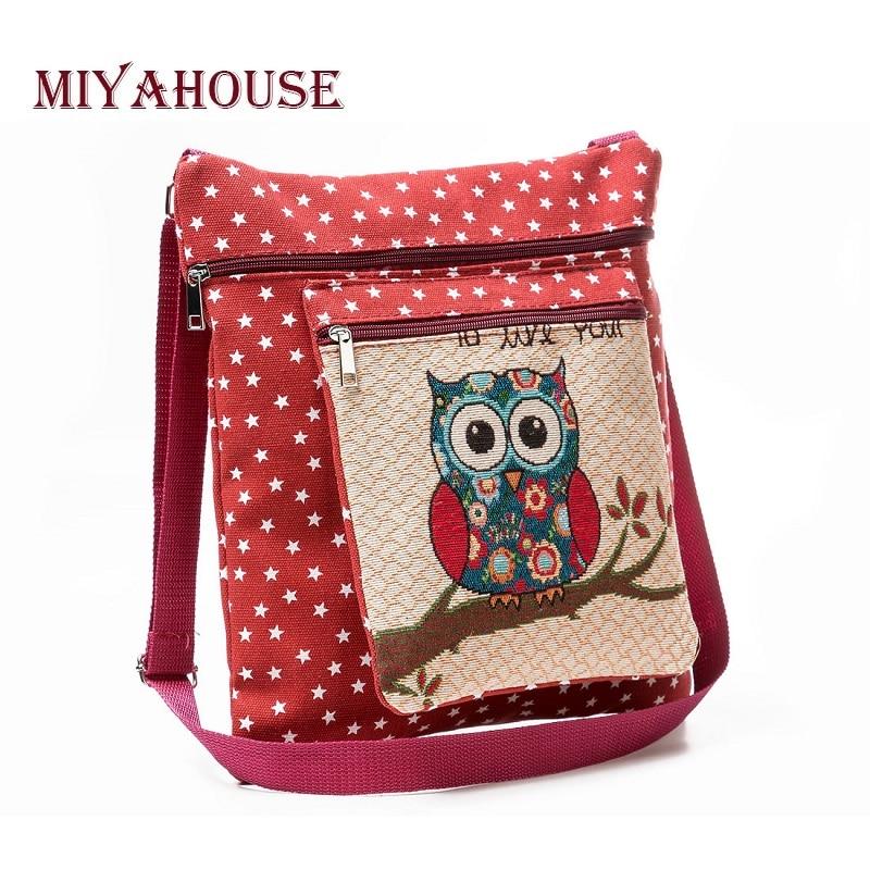 Miyahouse Large Capacity Embroidery Women Shoulder Bags Cartoon Owl Printed Messenger Flap Bag Female Canvas Star Crossbody Bag цены онлайн