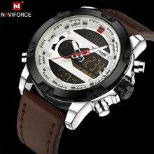 NAVIFORCE D'origine Marque De Luxe En Cuir Montre À Quartz Hommes Horloge Numérique LED Armée Militaire Sport Montre-Bracelet relogio masculino