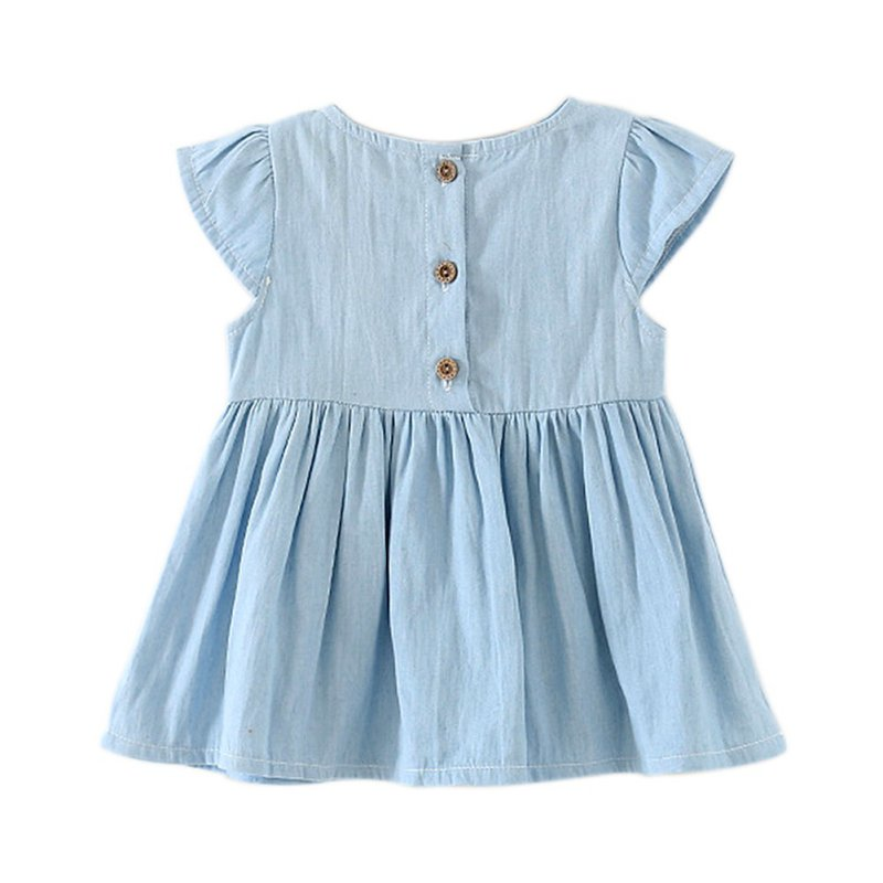Sweet Baby Girls Bow-knot Design Mini Dress Children Baby Summer Style Fashion Short Sleeve Party Dress Kids Clothes M1