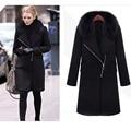 Women Winter Wool Coat Elegant Oblique Zipper Faux Fur Collar Casual Slim Long Cashmere Trench Coat Windbreaker Plus Size S-3XL