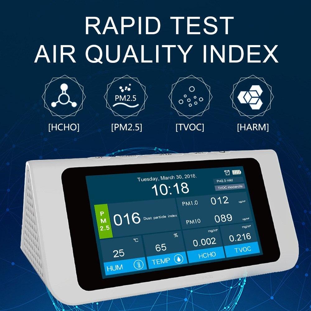 Sensore di Qualità dell'aria Digitale Multi-funzione di PM2.5 HCHO TVOC di Alta-precisione Indipendente Sensori di Qualità Dell'aria Monitor Analizzatore di Gas
