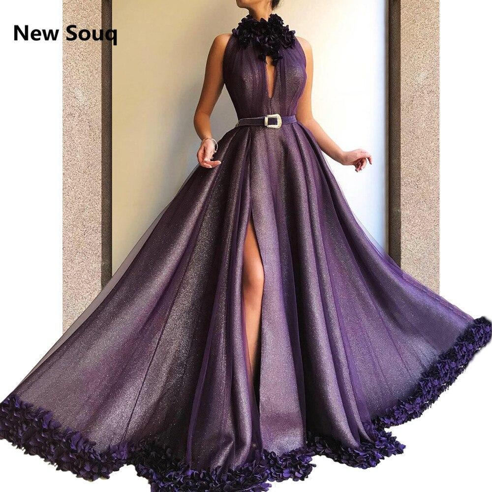 Elegant 3D Applique High Neck Evening Dresses Side Split Sleeveless 2019 Sexy Prom Dress Vestido De Gala Formal Evening Gowns