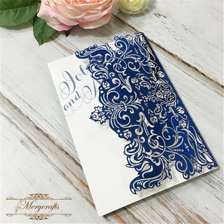 Luxury paper craft New design wholesale laser cut navy blue wedding ...