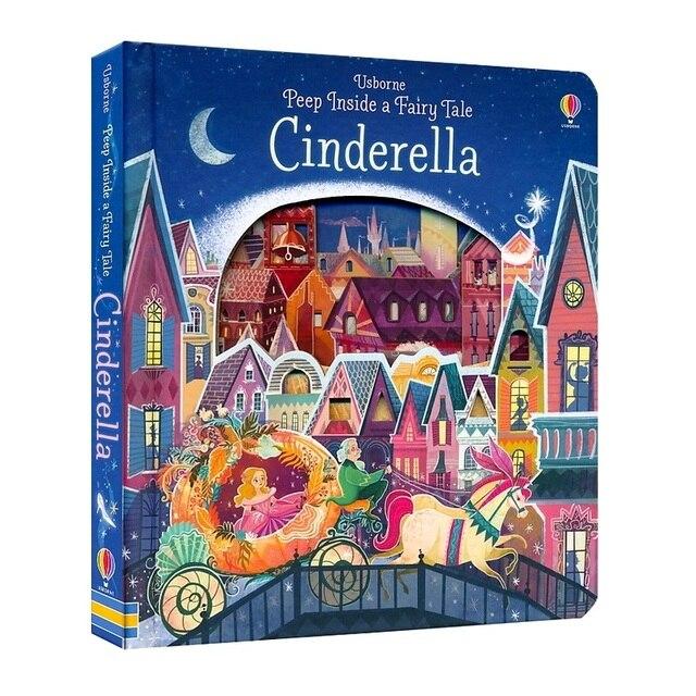 Peep dentro de un cuento de hadas Cenicienta inglés educativos 3D solapa libros ilustrados para niños bebé regalo