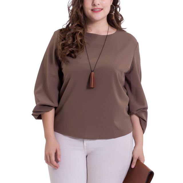 Plus Size Woman Chiffon Tops Simple Office Clothing Fashion Wear To Work  2018 Spring Summer Big Size O-neck Long Sleeve Clothes a51fd88b06a0