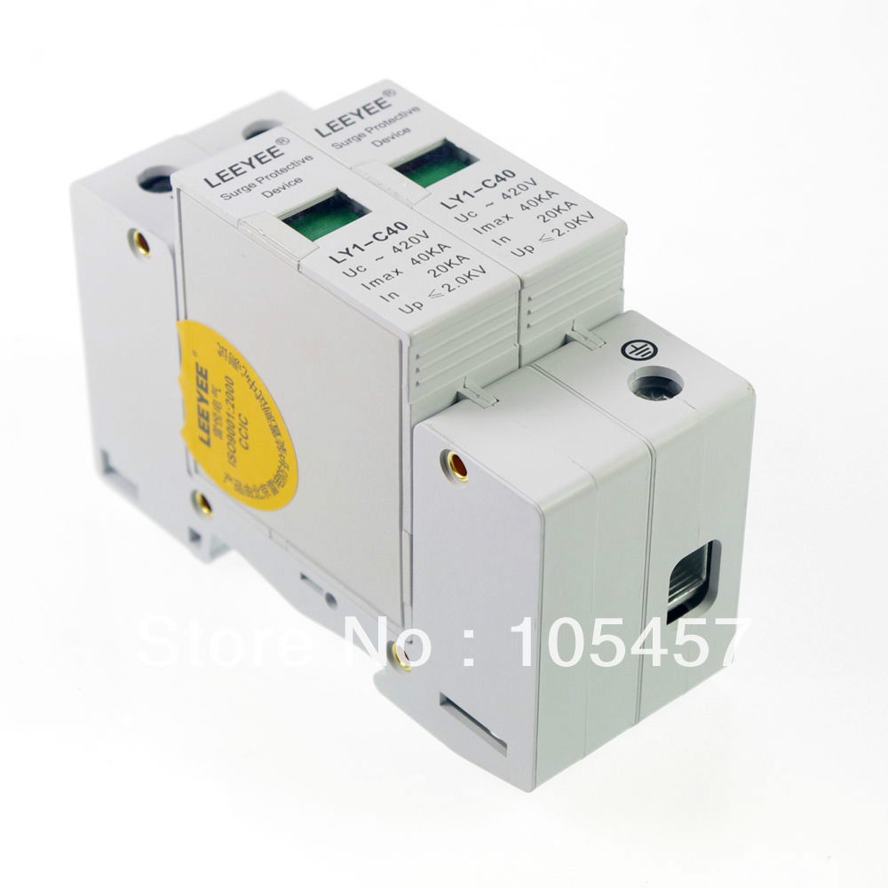 2P 20~40KA Din Rail Surge Protection DeviceLightning Arrester Brand New In Box Over Voltage