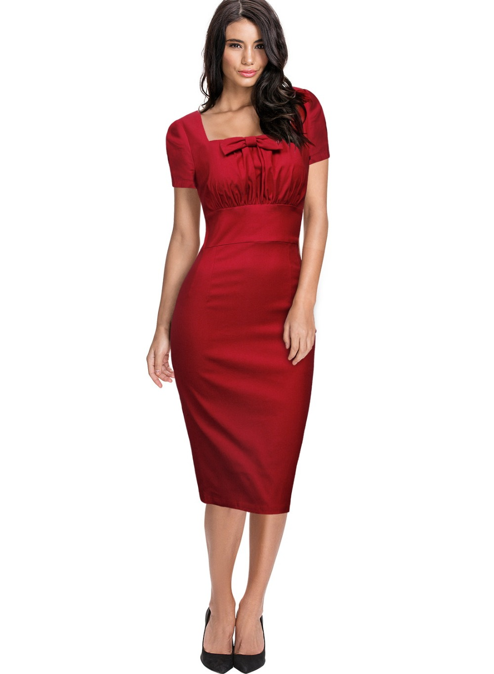 Free shipping Women s Vintage Retro Square Neck 1940 s Fitted Pencil  Bodycon Slim Work Party Dresses Summer club dress 3120-in Dresses from Women s  Clothing ... 2524cc7e227a