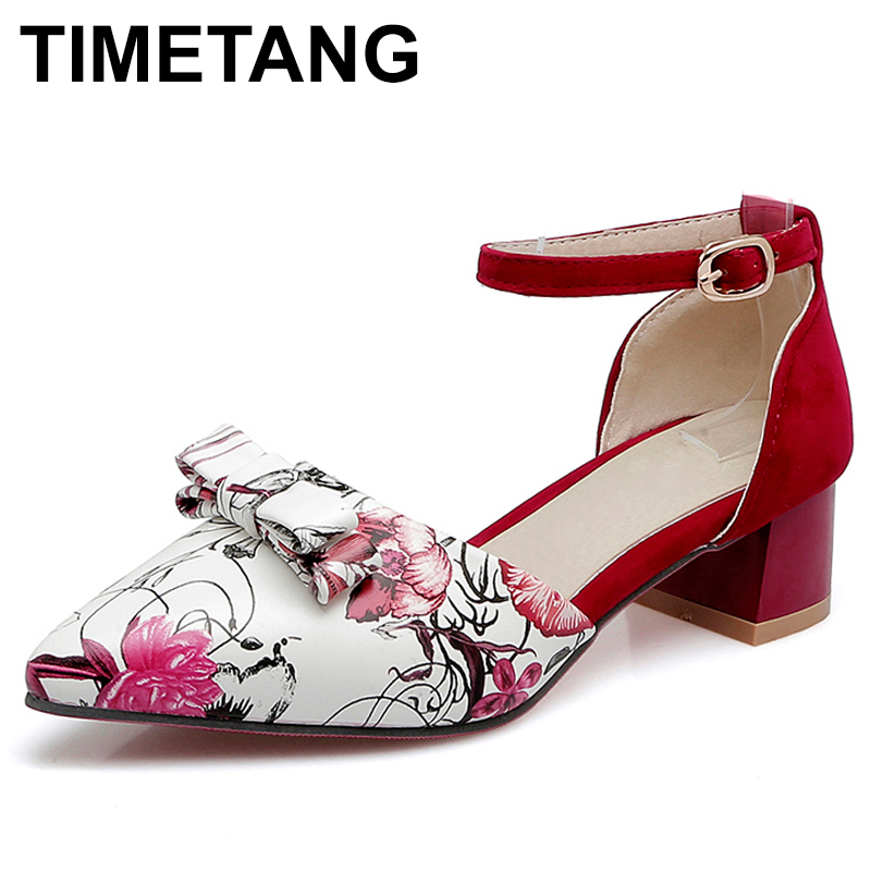 TIMETANG Plus Size 32-48 Women Med Heel Pointed Toe Sandals Ladies Flower Ankle Buckle Shoes Women Bowtie Bowknot Summer C285 suede slingback 9 bling black women pointed toe large size summer flats rhinestone sandals ankle strap ladies beautiful shoes
