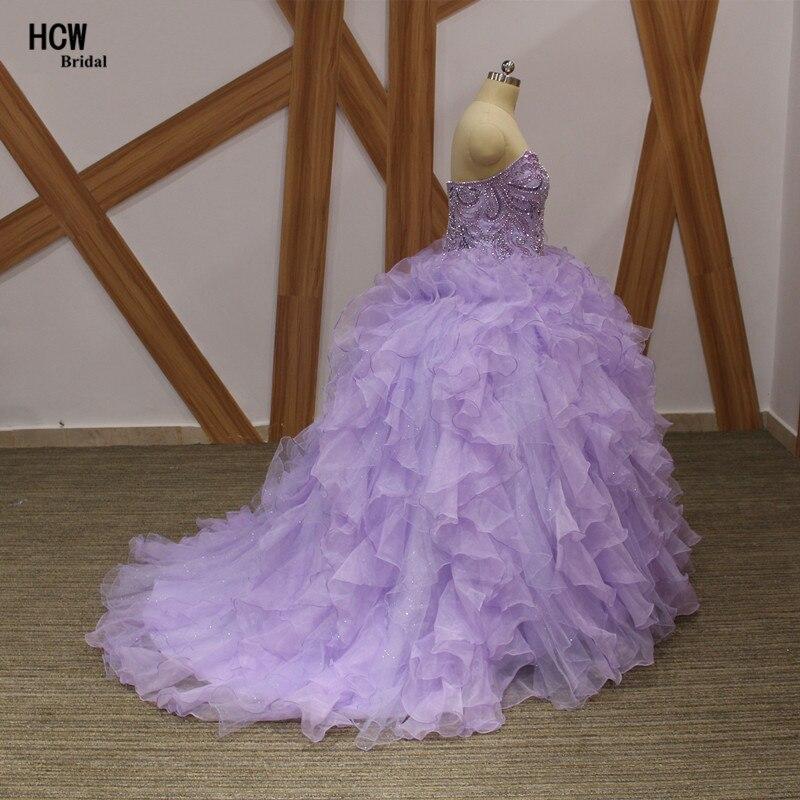 Lavendel pluss suuruses Quinceanera kleit, pitsiga kaelakristallid, - Eriürituste kleidid - Foto 2