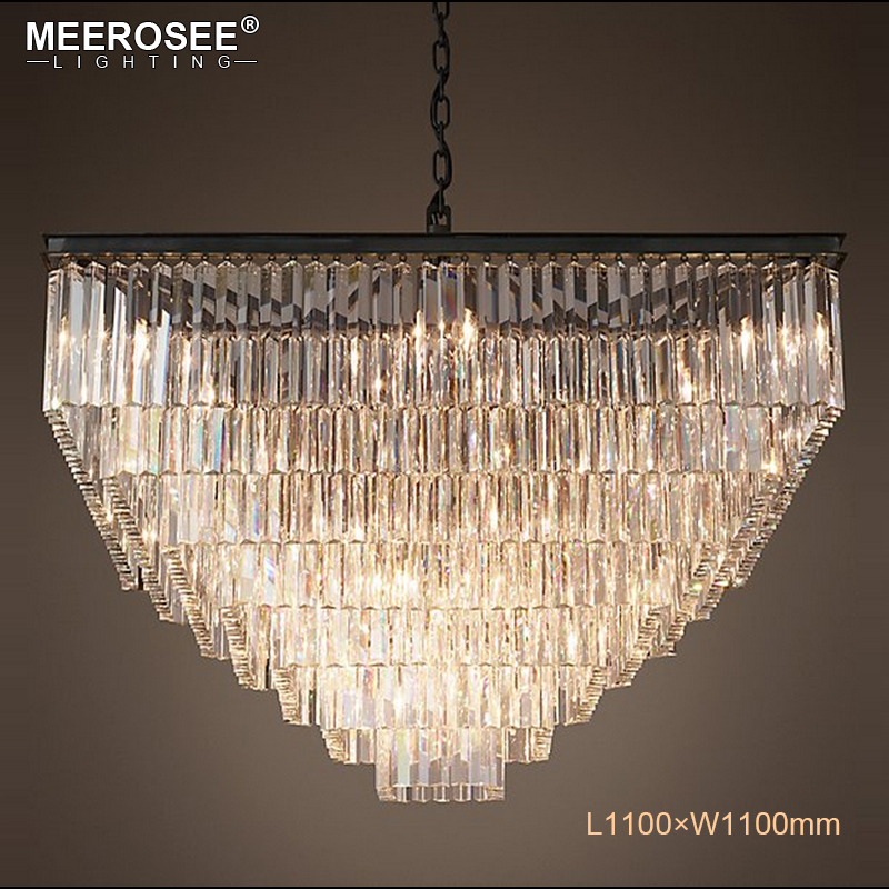 Modern Square Crystal Pendant Light Fixture Clear Crystal Suspension Lamp Good K9 Crystal Drop Lamparas for Living room Hotel