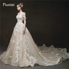 Luxury Wedding Dresses Long Off the Shoulder Wedding Gown Applique Crystal Beaded Lace Bridal Gown Vestido de Noiva 2019 RW26
