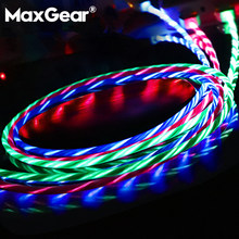 MaxGear Led USB Cable Flash Light Up Data Line Mobile phone Charger for iPhone Samsung Xiaomi Huawei Android Type-C 1M Cable(China)
