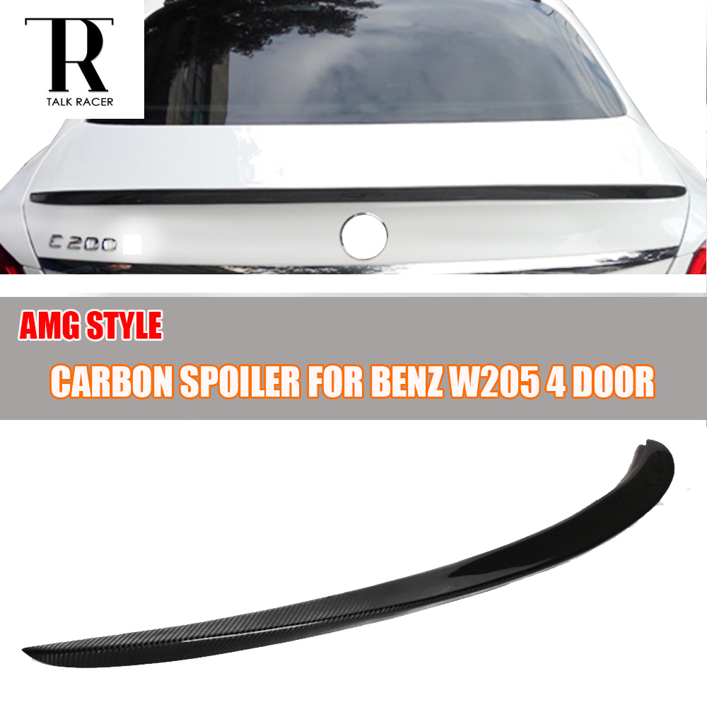 AMG Style W205 Carbon Fiber Rear Trunk Spoiler for Mercedes Benz W205 C180 C200 C220 C250 C300 C350 C400 C63 AMG 2015 - 2017 w205 abs car side fender vent trim e amg still for benz w205 c180 c200 c300 4 door not fit for c63 amg 2015 2018