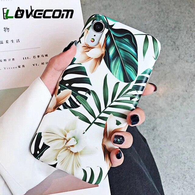 LOVECOM Hoa Nghệ Thuật Xanh Lá Ốp Lưng Điện thoại Iphone XS Max XR 6 6 S 7 8 Plus X Retro hoa Phong Cách Hoa Mềm Mại Lưng Điện Thoại