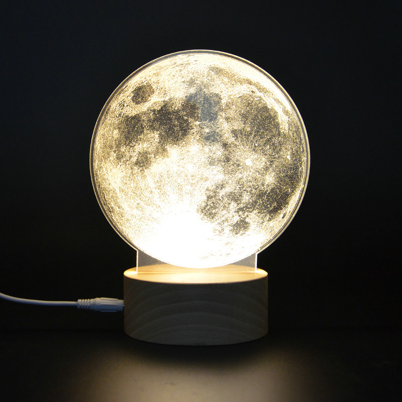 Creative 3D Acrylic Illusion Moon Light Lamp Atmosphere