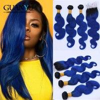 Guanyuhair Ombre Синий пучки волос с синтетическое закрытие 4X4 перуанский средства ухода за кожей волна Волосы Remy натуральные волосы утка с Темн