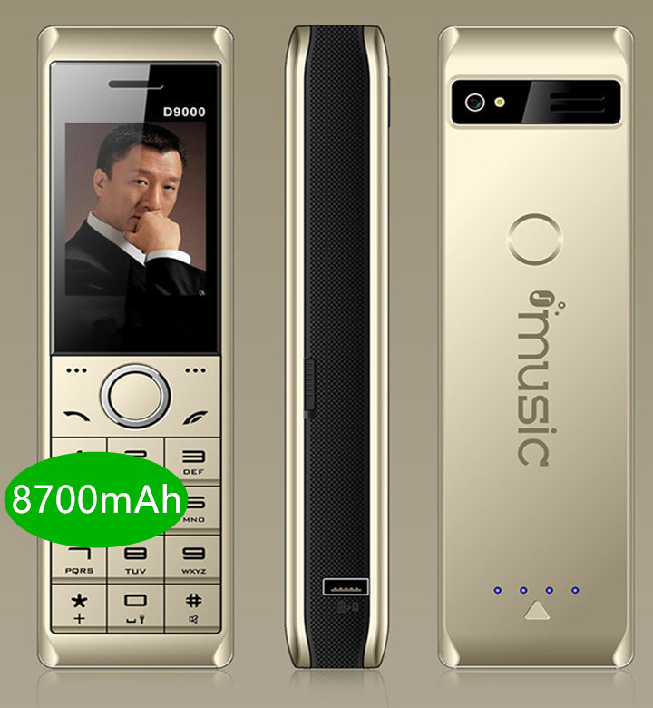 real 8700mAh Power Bank Super Big Mobile Phone Luxury Retro Telephone Loud Sound Dual SIM Standby cell phone y H mobile D9000