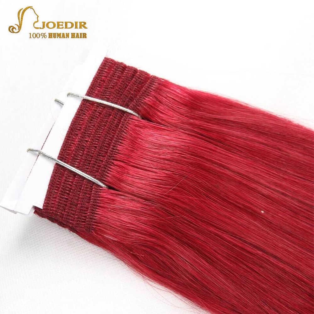 Joedir двойной нарисованный бразильские прямые волосы человеческие волосы переплетения пучки Remy Ombre Цвет блонд бордовый красный волосы 99J пучки волос