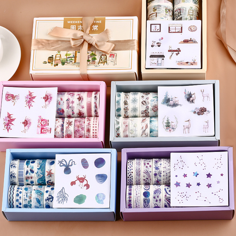 16 Rolls Journal Decorative Washi Tape With 8 Sheet Label Sticker Scrapbooking Masking Tape Deco Album Stationery Adhesive Tape