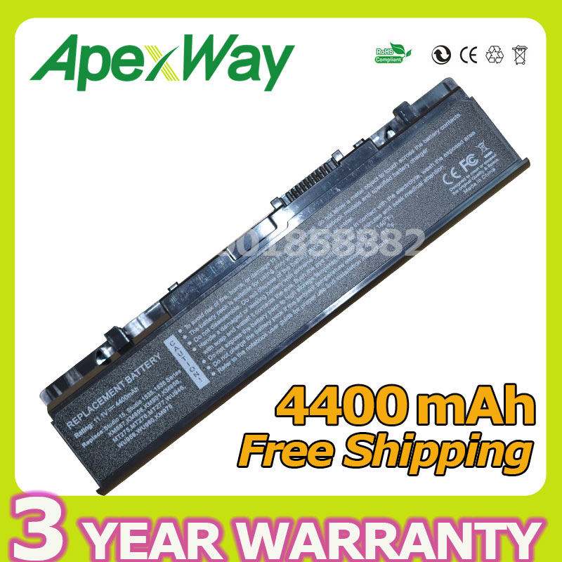 Apexway 4400mAh 1535 Laptop Battery For Dell Studio 1537 1536 1555 1557 1558 PP39L KM958 WU946 PP33L MT264 KM958  312-0701
