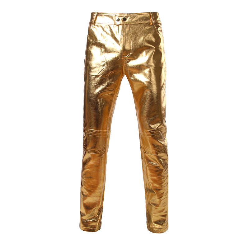 זהב מבריק PU עור אופנועים מכנסיים גברים מותג חדש ג 'ינס גרבונים חותלות מועדון לילה שלב מכנסיים זמרים רקדנית גברים רצים