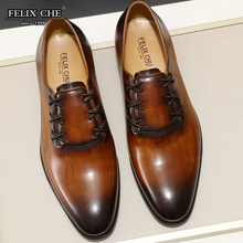 купить 2019 Spring Autumn Fashion Men Lace Up Oxfords Casual Shoes European Style Pointed Toe Cow Leather Formal Dress Shoe Black Brown дешево