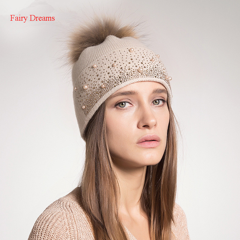 Fairy Dreams Women Knitting Skullies Beanies Autumn Winter Hat Beading Pom Pom 2017 New Style Female Fashion Knitwear Adult Caps skullies