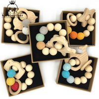 Baby Bracelet Wooden Animal Teether Eco Friendly Baby Teething Toys Infant Chew Bangle Shaped Rattle Baby