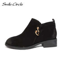 Smile Circle Autumn Ankle Boots Women Genuine Leather Suede Boots Women's  platform Boots botas femininas