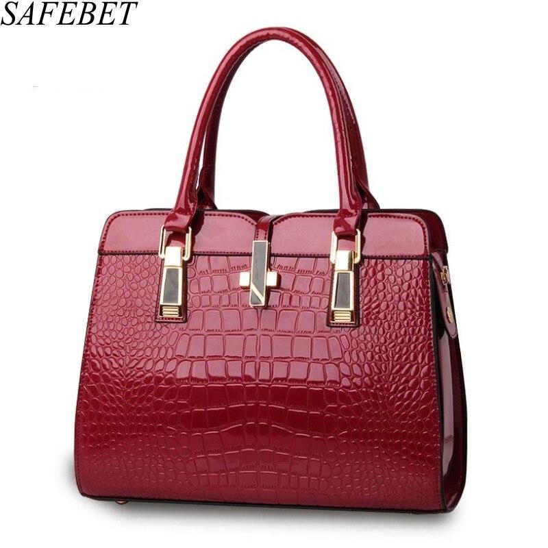 SAFEBET Brand Designer Patent PU  Leather Crocodile Pattern Handbag Women bag patent handbag  Ladies Shoulder bag Messenger Bags patent leather handbag shoulder bag for women