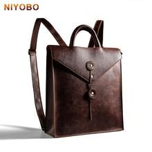 Trends Men Business Backpack PU Leather Bag For College Laptop Rucksack Simple Design Man Back Bag Brown Black Women Back Pack