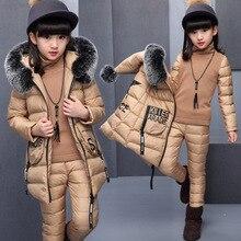 الفتيات مجموعة ملابس لروسيا الشتاء مقنعين سترة سترة دافئة + سراويل قطنية علوية دافئة 3 قطع مجموعة فتاة القطن معطف مع الفراء هود