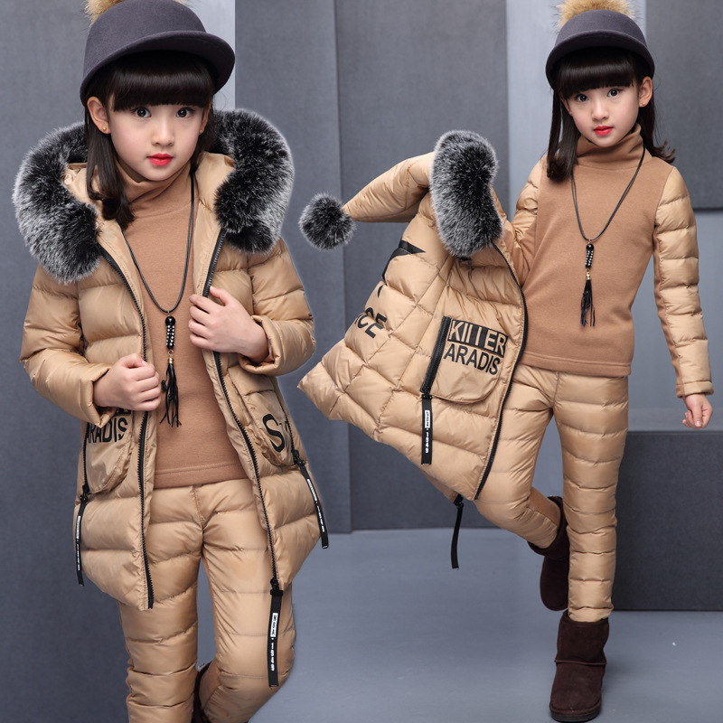 Girls Clothing Sets For Russia Winter Hooded Warm VestJacket+Warm top Cotton Pants 3 Pieces Set Girl Cotton Coat With Fur Hood storm 47386 s