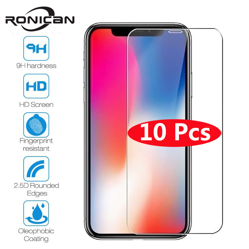 10Pcs Tempered Glass For IPhone X XS MAX XR 4 4s 5 5s SE 5c Screen Protective Film For IPhone 6 6s 7 8 Plus X Glass Protector()
