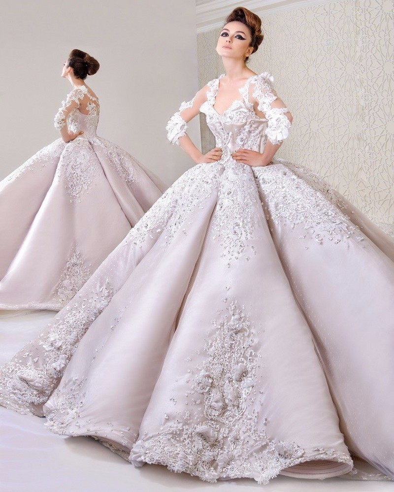 Gorgeous Exquisite V Neck Ball Gown Wedding Dresses 2016