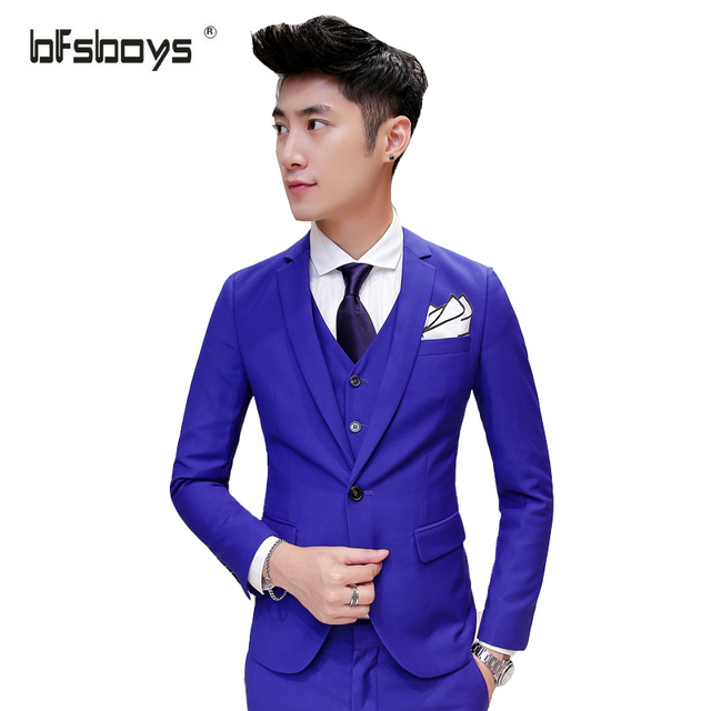 (Jacket+Vest+Pants)2016 New Fashion Brand single-breasted High-quality Slim Groom Wedding Dress Men Suit 11 colors 1606