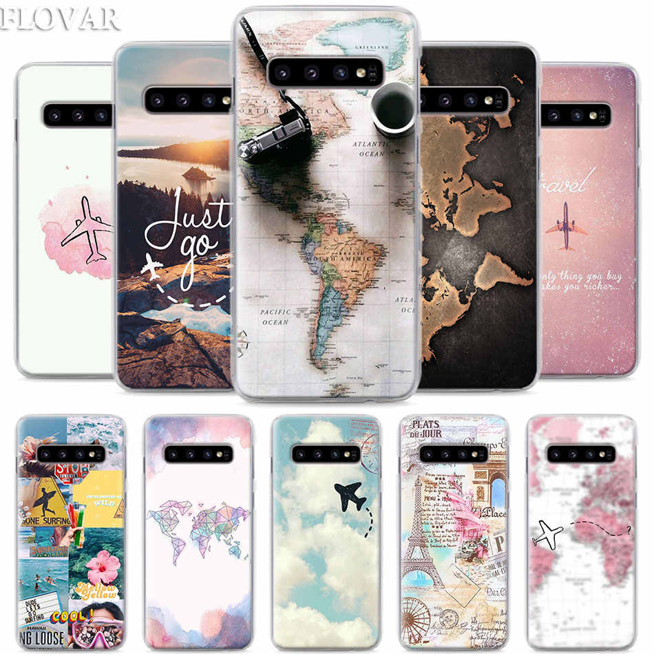World Map Travel Plans Phone Case for Samsung Galaxy S10e S10 Plus S7 S8 S9 Plus Note 8 9 M10 M20 M30 Hard Case Coque