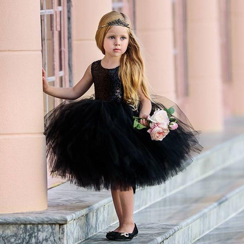 Черное платье принцессы, детская одежда для маленьких девочек, вечернее платье с вырезами на спине, бальное платье, Тюлевая пачка, официальн...